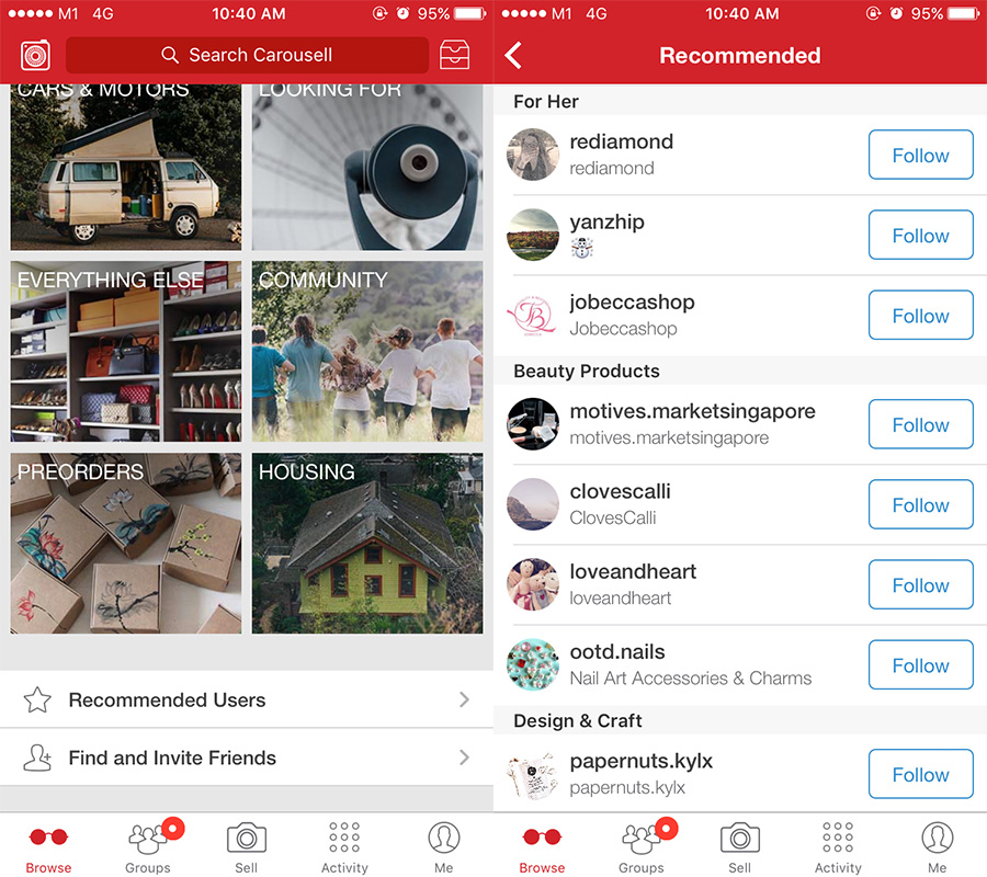 Carousell Recommended Users