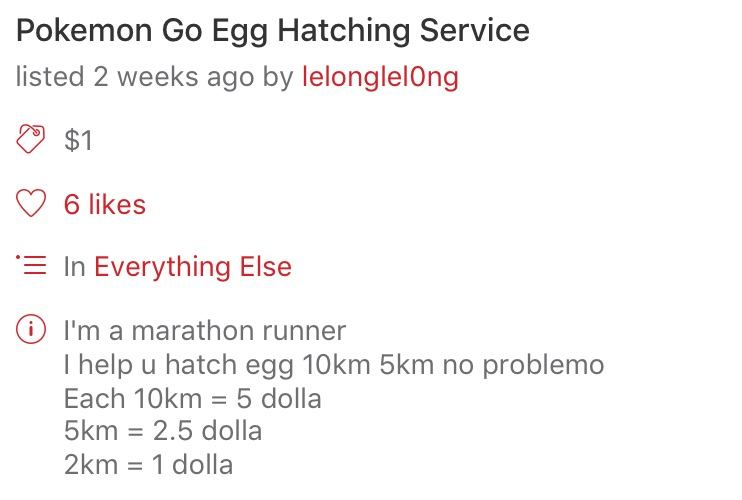 Pokemon Go Egg Hatching Service